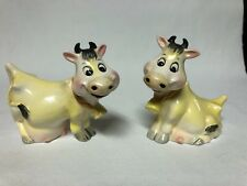 Vintage Yellow Cows with Bell Salt and Pepper Shakers Adorable!
