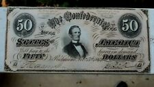 1864 $50 Dollar Bill Confederate States Currency Civil War Note Paper Money Vf