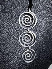 "Triple Spiral Hammered Aluminum Necklace Lightweight Silver, 4"" Long, NEW"