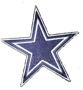 """Dallas Star 5"""" Inch Embordered NFL Iron On Patch"""