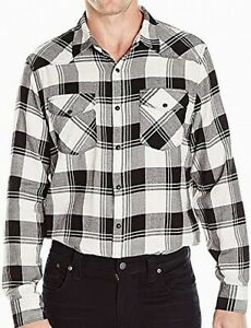 Lucky Brand Mens Dress Shirts Black Size Large L Plaid Button Down $69- #014