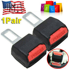 2X Car Auto Safety Seat Belt Buckle Extension Alarm Extender Black Universal Suv