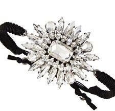 TAI Black Silk Cord Crystal Rhinestone Bling Bracelet Black Flower Charm $153