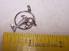 Vintage Silver Tone Dolphin Pendant - Estate Find Charm