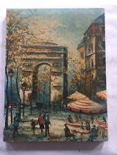 """Original art by J. DOUCHET """"People strolling Arch De Triumph in Paris"""""""