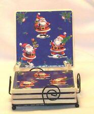 Coasters 4 Ceramic Santa Claus Cork Back with Metal Holder Rack Christmas