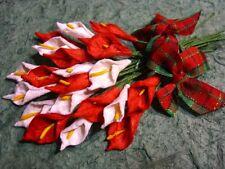 RED & WHITE ARUM LILIES + Tartan BOWS MP3D7X:::  scrapbook & card embellishemts