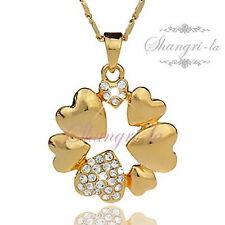 18K 18CT GOLD GP Love HEART Flower RING Pendant NECKLACE SWAROVSKI CRYSTAL X4102