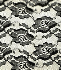 """4 YARDS - BLACK FREESIA FLORAL CRAFTERS LACE FABRIC 44""""W MESH CORSET SKIRT DECOR"""