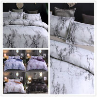 Queen King Full Marble Modern Duvet Cover Set  Microfiber Bed Sheets Pillow case