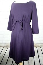 Motherhood Maternity Boat Neck Dress Front Tie Long Sleeve Size L Purple Stretch