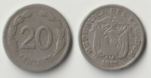 1937 Ecuador 20 centavos coin