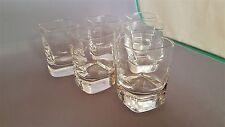 6 LUIGI BORMIOLI STRAUSS PATTERN CRYSTAL LIQUEUR SQUARE SHOT GLASSES