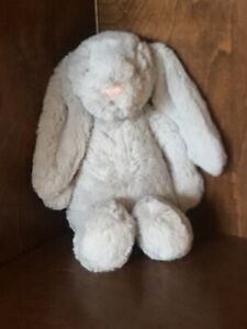 "12"" Jellycat Bashful Bunny Rabbit Soft Plush Stuffed Toy Lovey Light Gray EUC"