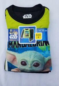 Disney Star Wars The Mandalorian Baby Yoda Boys Flannel 2 pc Pajamas PJs Size 8