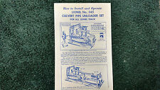 LIONEL # 345 CULVERT PIPE UNLOADER SET INSTRUCTIONS PHOTOCOPY
