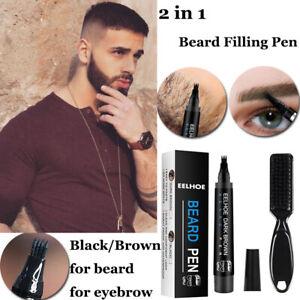 2 in 1 Beard Filling Pen Kit Salon Hair Engraving Styling Eyebrow Brush Black