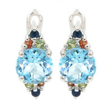 EARTH MINED 8MM SKY BLUE TOPAZ MULTI COLOR SAPPHIRE STERLING SILVER 925 EARRING