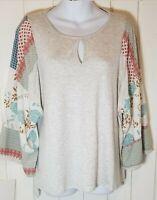 New! Franne-Mixed Media Kimono Sleeve Keyhole Neck Heather grey-Knit top