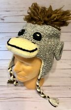 d198f5ea4c2 Kids Alpaca Blend Beanie Hand Knit Peru Sock Monkey Ear Flaps Ties Fair  Trade