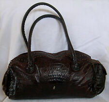 HENRY BEGUELIN Distressed Chocolate Brown Crocodile-Embossed Leather Bag.