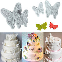 2PCS Butterfly Cake Fondant Mould Decorating Sugarcraft Cookie Cutters DIY Mold