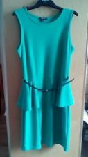 Ladies fern green formal cocktail dress with black belt, waist peplum, size 12