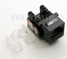 100 Pack Lot - CAT5e RJ45 110 Punch Down Keystone Modular Snap-In Jacks - Black