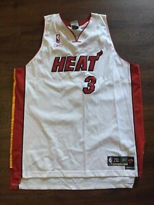 Vintage Dwayne Wade Home White Miami Heat Basketball Jersey Reebok