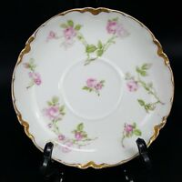 Antique Schleiger HAVILAND FRANCE Limoges saucer pink rose gold trim porcelain