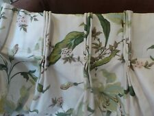Huge vintage single designer fabric green floral curtain door/window lined heavy