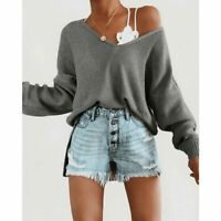 Solid Loose Long Sleeve Fashion Tops T-shirt Sweater Blouse Casual