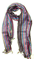 Long Cotton Scarf with Silver Thread Stripe Hip Scarf Wrap Tassels
