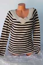 OP (XL 15 17) Stretch Sweater Knit Pullover Top V Neck Brown Ivory Striped