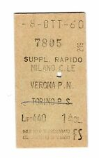 BIGLIETTO TICKET EDMONSON SUPPL. RAPIDO  MILANO CL. VERONA  8-10-1960