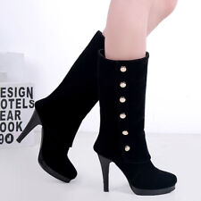 Womens Winter Mid-Calf Boots Pointed Toe Push On Chunky Heel Booties US 6 Black