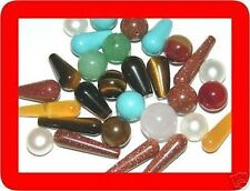 10 PC Mixed Gemstones Lot Pearl Turquoise 1/2 drilled