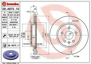 Disc Brake Rotor-Base Rear Brembo 09.A972.11