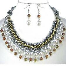 Statement Silver Gold Cream Pearl Chain Necklace Earrings Chunky Eclectic Set
