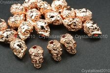 Solid Metal Rose Skull Bracelet Necklace Earring Connector Charm Spacer Beads