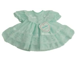 BNWT Baby Girls premature frilly mint green dress Made in UK by Kinder 5-8lb