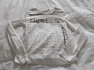 Womens Mexx size small white long sleeved top thin music logos on front