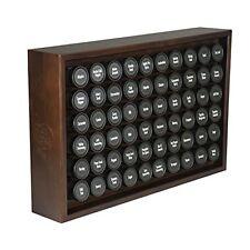Wooden Spice Rack Storage 60 Condiments Herbs Jars Organizer Kitchen Walnut NEW