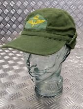 Genuine Swedish Vintage Military Green Cotton Drill Fatigue Combat Cap 1960`s OP