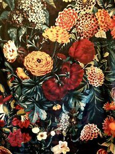 FABRIC SHOWER CURTAIN Burgundy Black ORANGE BOLD VERY  LARGE FLOWERS MUMS  BOHO