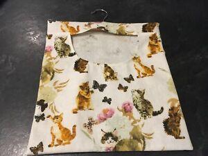 Hand Made Laundry Peg Bag With Wooden Hanger Cats, Butterflies Linen Fabric
