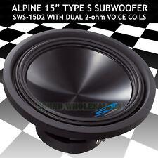 "ALPINE SWS-15D2 SUB 15"" DUAL 2-OHM TYPE-S 1,500W MAX CAR SUBWOOFER SPEAKER NEW"