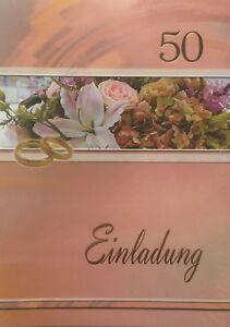 10 Einladungskarten Zur Goldhochzeit / Goldene Hochzeit Mit Umschlag, Einladung