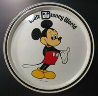 "Vintage Walt Disney World Mickey Mouse Tin Metal Plate Dish Platter  11"" Sticker"