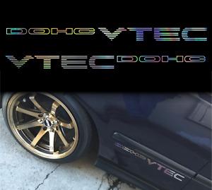 2PC VTEC DOHC silver chrome oilslick HONDA decal sticker Civic Prelude Accord